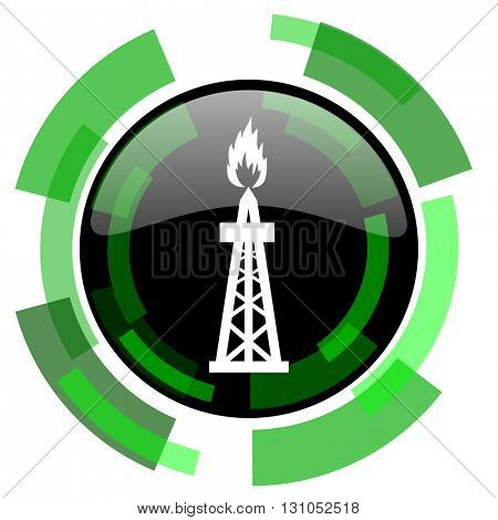 gas icon, green modern design glossy round button, web and mobile app design illustration