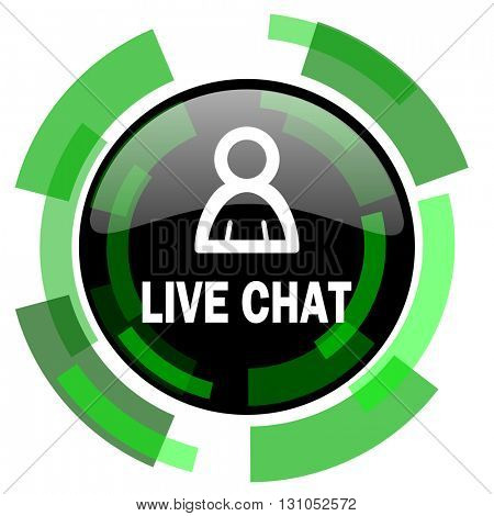 live chat icon, green modern design glossy round button, web and mobile app design illustration