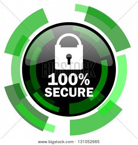 secure icon, green modern design glossy round button, web and mobile app design illustration