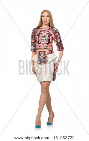Pretty model in clothes with carpet prints isolated on white
