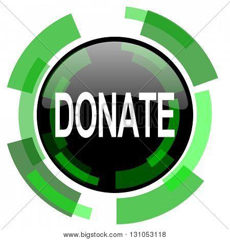 donate icon, green modern design glossy round button, web and mobile app design illustration