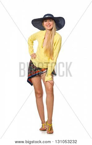 Tall caucasian model wearing hat isolated on white