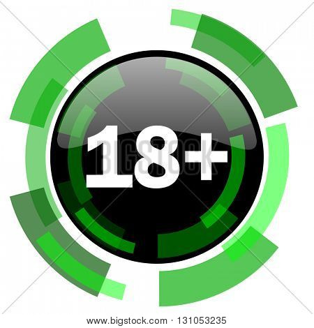 adults icon, green modern design glossy round button, web and mobile app design illustration