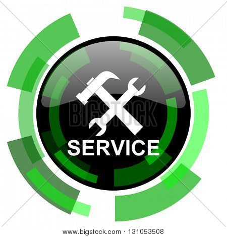service icon, green modern design glossy round button, web and mobile app design illustration