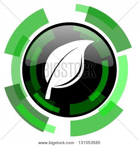 nature icon, green modern design glossy round button, web and mobile app design illustration