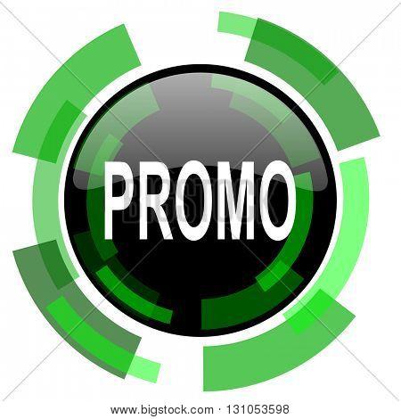 promo icon, green modern design glossy round button, web and mobile app design illustration