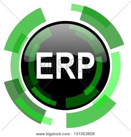 erp icon, green modern design glossy round button, web and mobile app design illustration