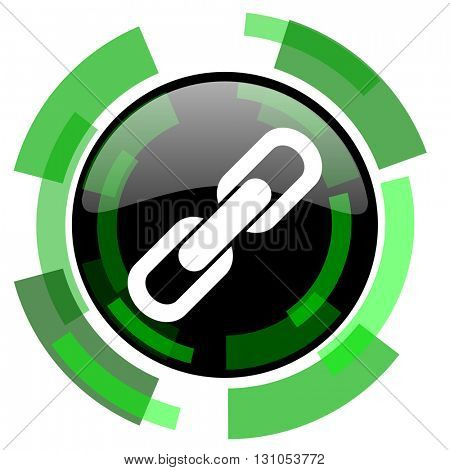 link icon, green modern design glossy round button, web and mobile app design illustration