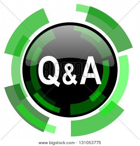 question answer icon, green modern design glossy round button, web and mobile app design illustration