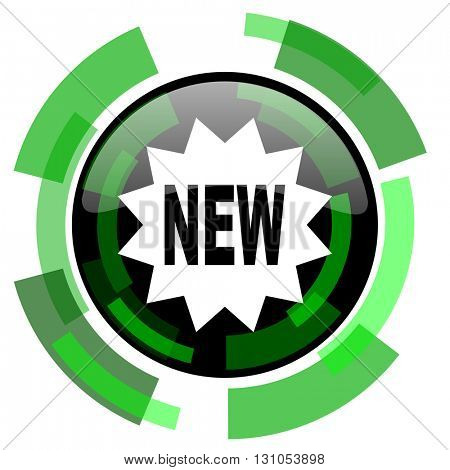 new icon, green modern design glossy round button, web and mobile app design illustration