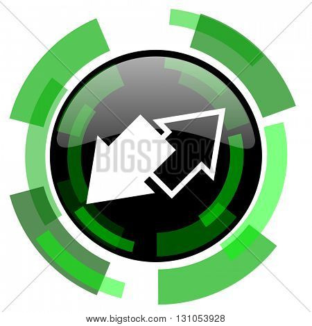 exchange icon, green modern design glossy round button, web and mobile app design illustration