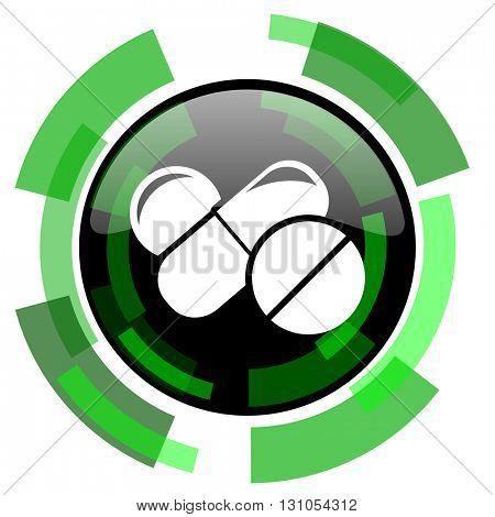 medicine icon, green modern design glossy round button, web and mobile app design illustration