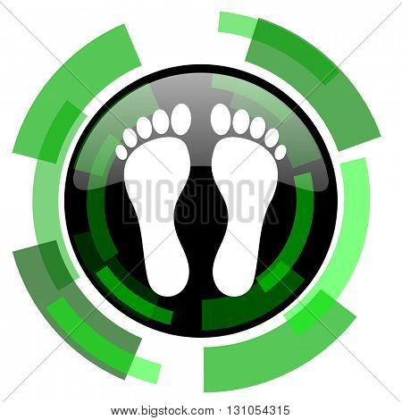 foot icon, green modern design glossy round button, web and mobile app design illustration
