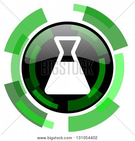 laboratory icon, green modern design glossy round button, web and mobile app design illustration