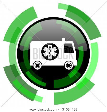 ambulance icon, green modern design glossy round button, web and mobile app design illustration