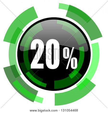 20 percent icon, green modern design glossy round button, web and mobile app design illustration