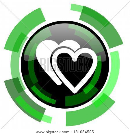 love icon, green modern design glossy round button, web and mobile app design illustration