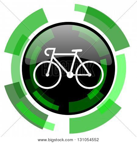 bicycle icon, green modern design glossy round button, web and mobile app design illustration