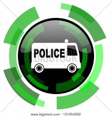 police icon, green modern design glossy round button, web and mobile app design illustration