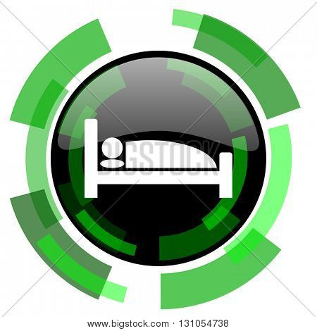 hotel icon, green modern design glossy round button, web and mobile app design illustration