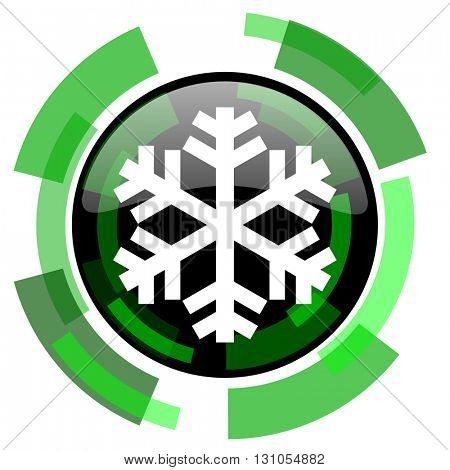snow icon, green modern design glossy round button, web and mobile app design illustration