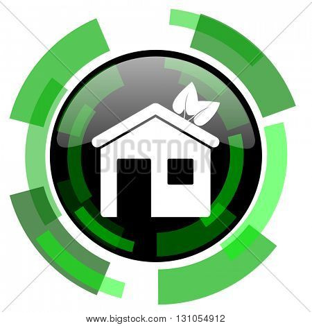 house icon, green modern design glossy round button, web and mobile app design illustration