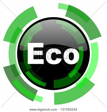 eco icon, green modern design glossy round button, web and mobile app design illustration