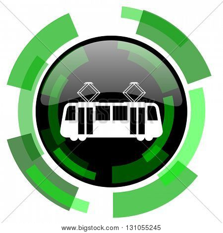 tram icon, green modern design glossy round button, web and mobile app design illustration