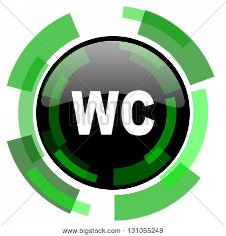 toilet icon, green modern design glossy round button, web and mobile app design illustration