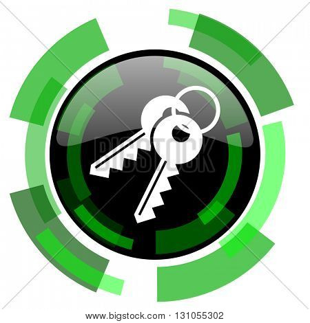keys icon, green modern design glossy round button, web and mobile app design illustration