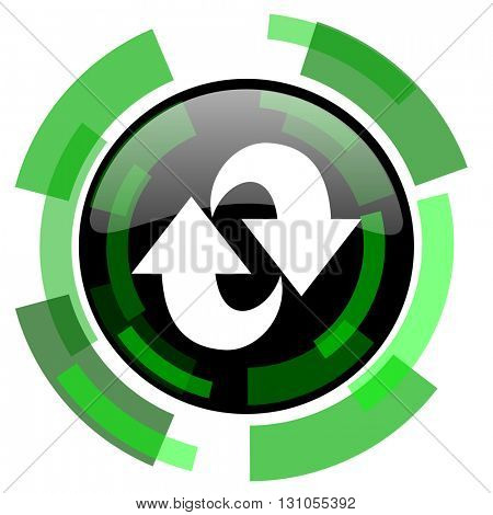 rotation icon, green modern design glossy round button, web and mobile app design illustration