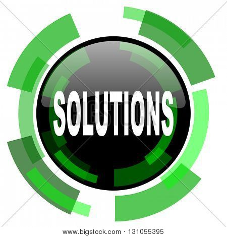 solutions icon, green modern design glossy round button, web and mobile app design illustration