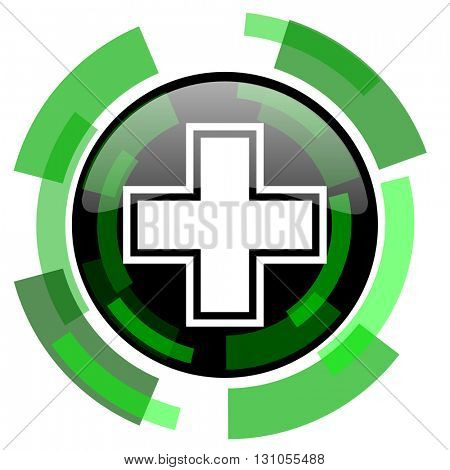 pharmacy icon, green modern design glossy round button, web and mobile app design illustration