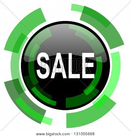 sale icon, green modern design glossy round button, web and mobile app design illustration