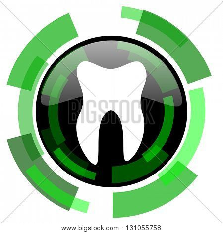 tooth icon, green modern design glossy round button, web and mobile app design illustration