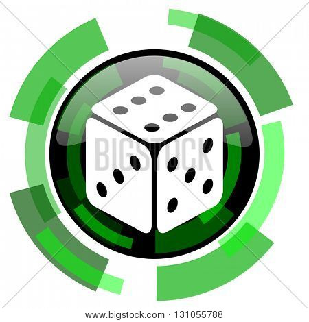 game icon, green modern design glossy round button, web and mobile app design illustration