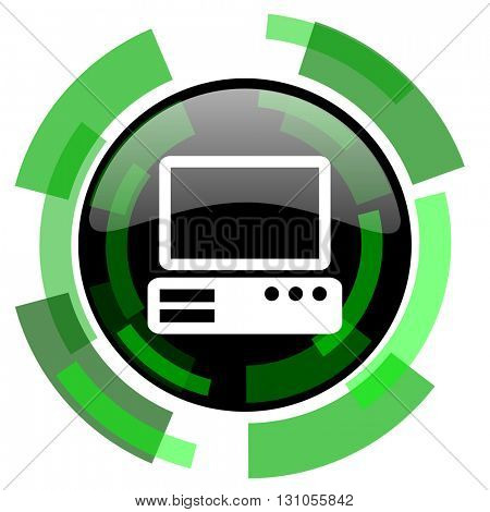 computer icon, green modern design glossy round button, web and mobile app design illustration