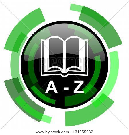 dictionary icon, green modern design glossy round button, web and mobile app design illustration