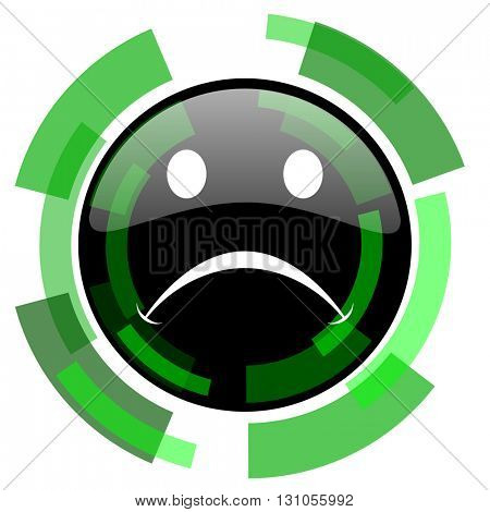 cry icon, green modern design glossy round button, web and mobile app design illustration