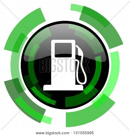 petrol icon, green modern design glossy round button, web and mobile app design illustration