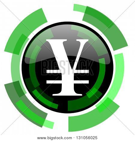 yen icon, green modern design glossy round button, web and mobile app design illustration