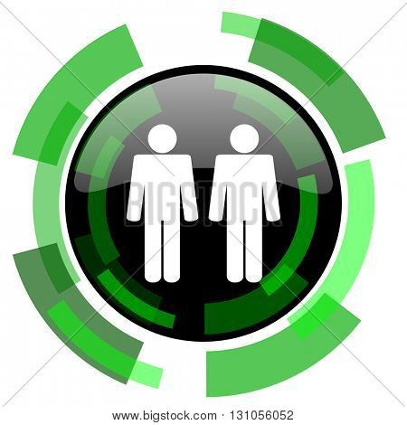 couple icon, green modern design glossy round button, web and mobile app design illustration