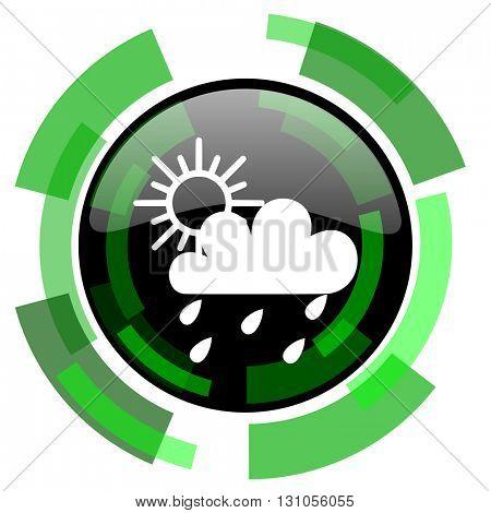 rain icon, green modern design glossy round button, web and mobile app design illustration