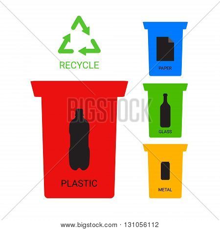 Colored recycle containers ecological illustration, vector symbols