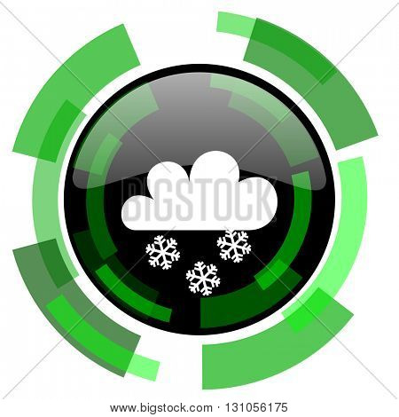 snowing icon, green modern design glossy round button, web and mobile app design illustration