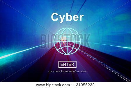 Cyber Internet Technology Information Website Concept