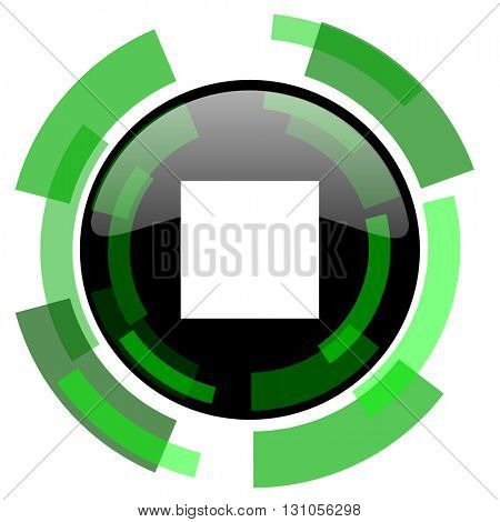 stop icon, green modern design glossy round button, web and mobile app design illustration