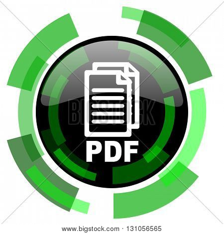 pdf icon, green modern design glossy round button, web and mobile app design illustration,