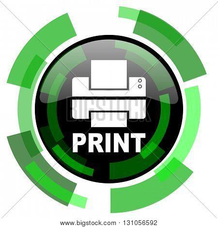 printer icon, green modern design glossy round button, web and mobile app design illustration