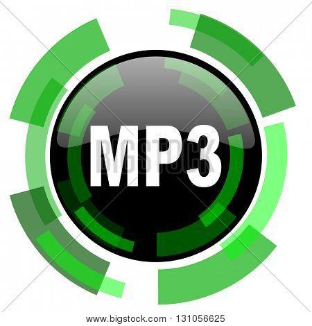 mp3 icon, green modern design glossy round button, web and mobile app design illustration
